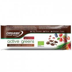 Barres vegan bio et crues Organic Food barres Active Greens chocolat avec des protéines végétales
