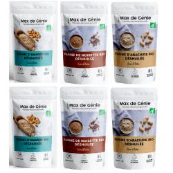 Farines de noisette, farine de cacahuète, farine d'amande, 100% bio et cétogène Max de Génie pack Nutri-Beautiful