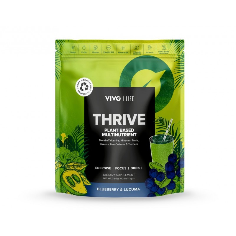 Thrive: synergie de superaliments (vitamine D+ vitamine B12 + probiotiques) myrtilles lucuma - Vivo Life