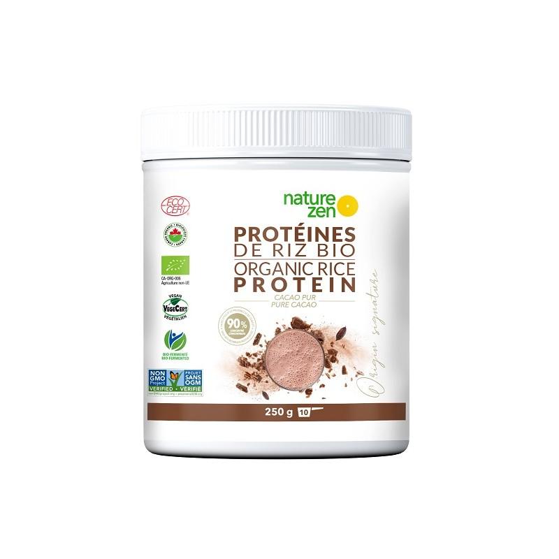 Nature zen Origin protéine végétale de riz  bio germé au cacao 250g