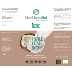 Huile MCT / TCM C8 100% biologique de Nutri-beautiful