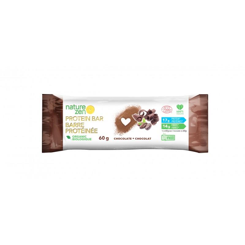 barre protéinée vegan et bio au chocolat de Nature Zen