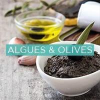 Olives bio, tartinables algues et olives, tapenades d'ail noir